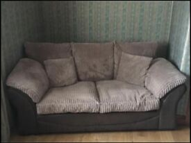 Faux leather and cord sofa