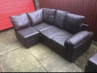 Chocolate Manhattan leather corner sofa can deliver