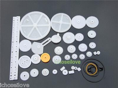 34 Kinds Plastic Shaft Rack Reduction Worm Gears Belt Pulley Diy Kit For Robot