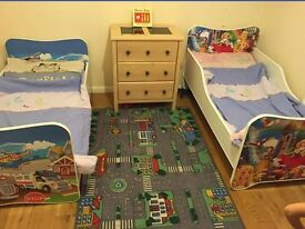Two toddler beds twins lovely art work girl princess and boy vehicles