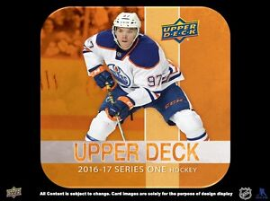 2016-17 Upper Deck Series 1 Hockey Hobby Trading Cards Box Kitchener / Waterloo Kitchener Area image 3