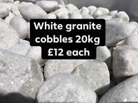 White granite cobbles decorative stones 20kg £12 each