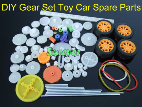 New Gear Set Toy Car Parts Gear Pack Car Wheel/Shaft/Axles/Belts/Worm/ Tire/Rack