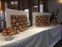 Donut wall candy cart flower wall to hire for wedding baby shower event