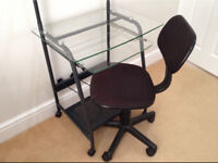Glass topped desk and free office chair