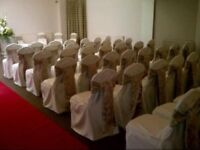 Ivory cotton banqueting chair covers