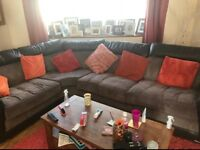 DFS leather and fabric corner sofa