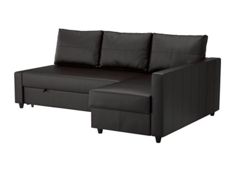 Black Ikea Faux Leather Corner Sofa Bed In Exeter Devon