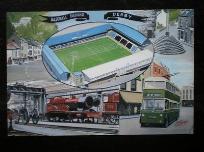 POSTCARD DERBY - BASEBALL GROUND - TRAMS - TRAINS