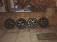 "Rims wheel tyres glossy black 16"" inch"