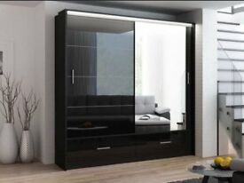 🚚🚛 High Gloss Wardrobe 🚚New Marsylina Full Mirror Sliding Door Wardrobe in Black and White Color