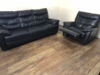 Black genuine leather 3 seater + 1 seater reclining chair.