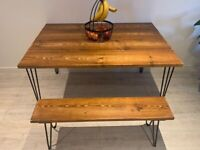 Handmade wooden tables, desks, benches with industrial hairpin legs