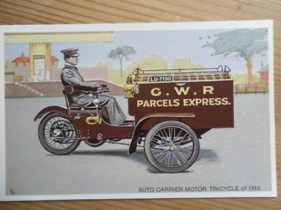 POSTCARD G.W.R. AUTO CARRIER MOTOR TRICYCLE OF 1910