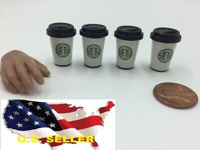 4 x 1/6 coffee cup Starbucks Crate Dollhouse Miniature Bar Drink Decor Hot (1 Cup Hot Beverage)