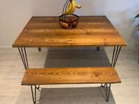 Dining & kitchen tables, benches, desks, shelves with industrial hairpin legs