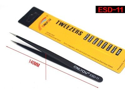 1pcs Esd-11 Non-magnetic Anti-static Curved Straight Tip Stainless Tweezer Tool