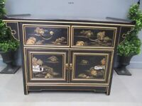 Oriental Black Lacquer Buffet With 2 Drawers And Two Doors Hand Painted Landscapes