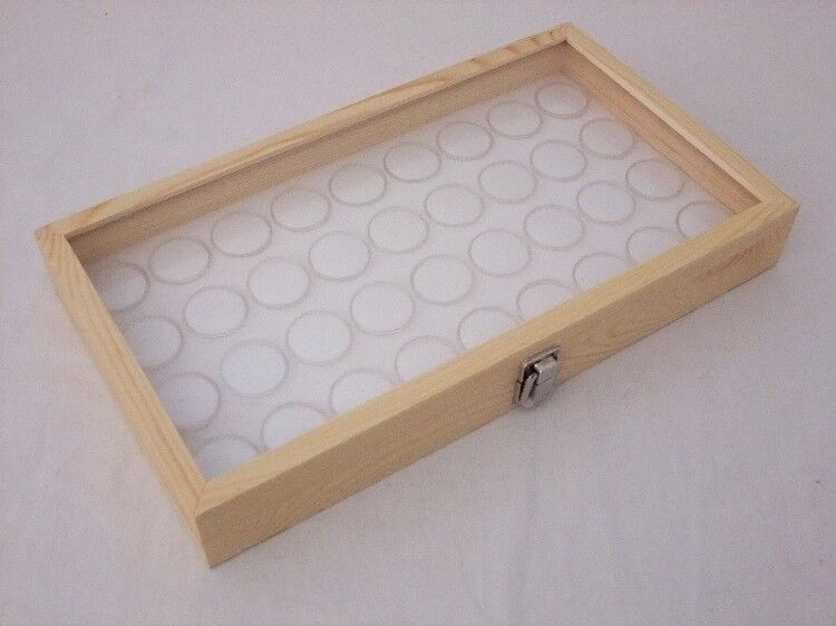 NATURAL WOOD GLASS TOP DISPLAY WITH 36 MEDIUM SIZED GEM JARS WHITE