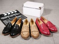 Womens high quality leather brogues, loafers (black colour size 7uk) (RED SIZE 6)