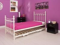 GFW Santa Fe 3ft Single Ivory Metal Bed Frame Complete with Trundle without mattress new boxed