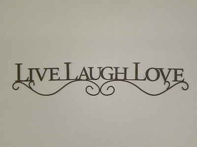 New French Country Live Laugh Love Black Metal Scrolled Word Sign Wall Hanging