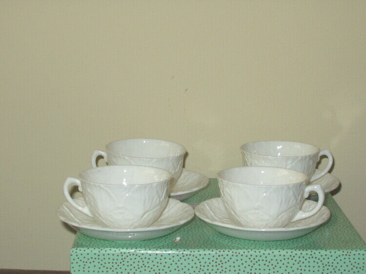 4 Coalport White Teacups and Saucers Countryware