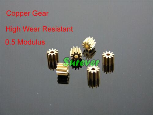 2mm Shaft Motor Gear Metal Copper Gear 10 teeth 0.5 Modulus Motor Toy DIY Parts