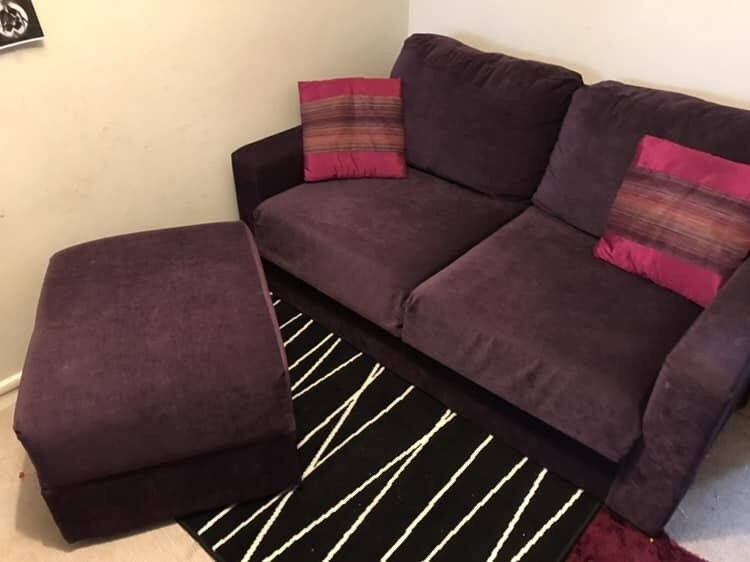 Purple Velvet Sofa Bed And Foot Stool