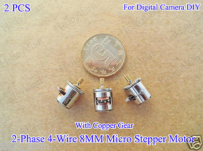 2pcs 2-phase 4-wire 8mm Mini Micro Stepper Motor With Copper Gear For Camera Diy