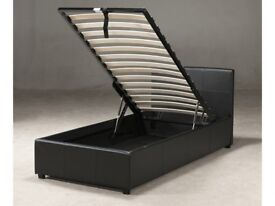 Black Faux Leather single bed