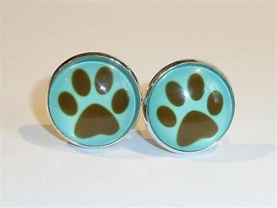 SILVER PLATED CUFFLINKS - DOG PAWS - GIFT BAG - FREE UK P&P.......W2068