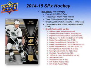 2014-15 Upper Deck SPx Hockey Cards Hobby Box Kitchener / Waterloo Kitchener Area image 3