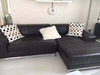Ikea Kramfors two piece leather sofa for sale