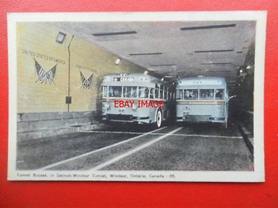 POSTCARD TUNNEL BUSES IN DETROIT WINDSOR TUNNEL