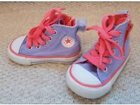 Purple and pink kids infant converse hi tops