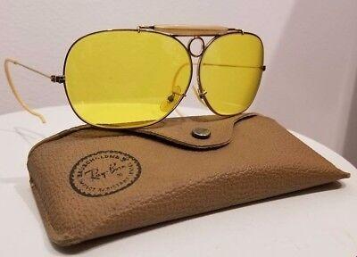 Vtg Bausch Lomb Rayban Ambermatic Bullet-Hole Aviator Sunglasses Case FreeUSShip