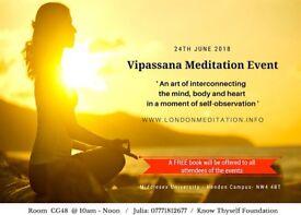 Ancient Art of Vipassana @ Middlesex University on 24th June 2018