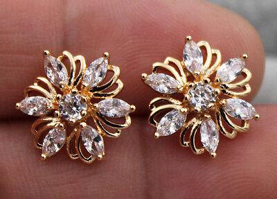 (18K Yellow Gold Filled -  Hollow Multilayer Flower Topaz Zircon Stud Earrings)