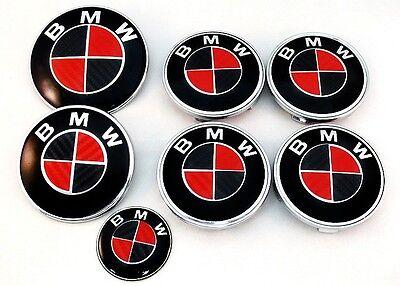 BLACK & RED CARBON FIBER Complete Set of Vinyl Sticker Overlay All BMW Emblems