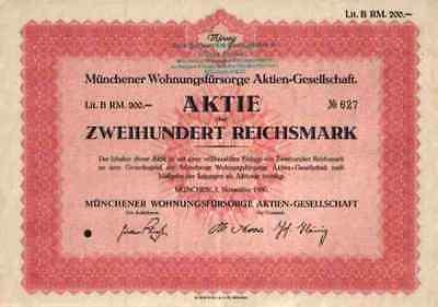 Wohnungsfürsorge Baubank 1930 München NEUE HEIMAT Lit. B 200 RM DGB Gewerkschaft