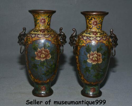 """9.2"""" Ancient China Cloisonne Enamel bronze palace Lion Handle flower bottle pair"""