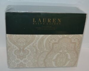 RALPH LAUREN Country French Beige Paisley 4PC QUEEN SHEET SET NEW COTTON