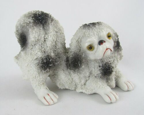 Vintage Black & White Porcelain Coralene Japanese Chin Dog w/Glass Eyes Figurine