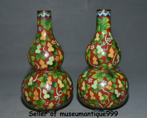 "10.4"" Old China Cloisonne Enamel bronze palace Foo Fu  flower  gourd bottle pair"