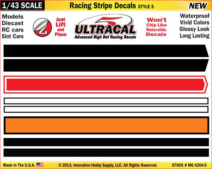 MG6204-5 - 1/43 UltraCal Red Orange Stripe Decals Stickers Fits SCX,Carrera Go