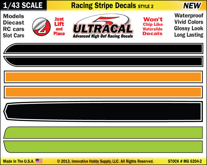 MG6204-2 - 1/43 UltraCal Stripes Decals Stickers Fits Carrera Go,  SCX