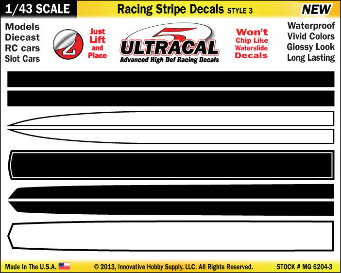 MG6204-3 - 1/43 UltraCal Stripe Decals Stickers Fits SCX Carrera Go