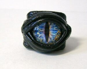 Snake eye adjustable black leather ring. Dragon eye leather ring.