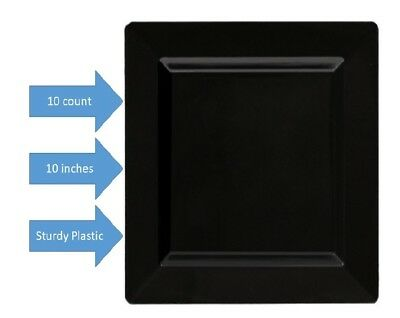 Black Square Sturdy Plastic Luncheon/ Dinner Plates 10 ct ~